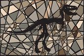 foto of dinosaur skeleton  - Editable vector mosaic illustration of the skeleton of a Tyrannosaurus rex dinosaur suggesting a fossil - JPG