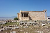 image of akropolis  - Caryatids in Erechtheum from Athenian Acropolis Greece - JPG