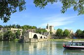 foto of avignon  - bridge of Avignon and The Popes Palace in Avignon  - JPG