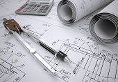 picture of mechanical drawing  - Scrolls engineering drawings and tools - JPG