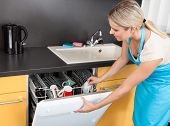 foto of dishwasher  - Woman Opening Dishwasher - JPG