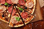 image of salami  - Pizza with Ham and Salami - JPG