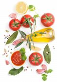 stock photo of homogeneous  - Tomato sauce and the ingredients  - JPG