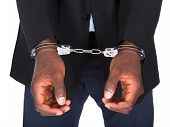 pic of handcuffed  - African Man With Handcuffed Hands Isolated On White Background - JPG