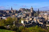 stock photo of british culture  - View over the historic center of Edinburgh Scotland - JPG