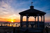 picture of virginia  - Gazebo silhouetter at sunset on Chincoteague Island - JPG