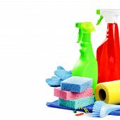 image of cleaning agents  - Colorful cleaning products isolated over white background - JPG