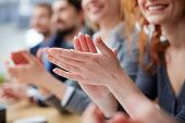 stock photo of applause  - Photo of business people hands applauding at conference - JPG