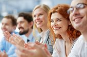 stock photo of cheer  - Photo of happy business people applauding at conference - JPG