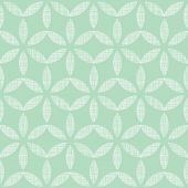 stock photo of mint leaf  - vector abstract textile mint green leaves geometric seamless pattern background - JPG