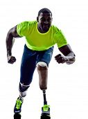 foto of amputee  - one muscular handicapped man starting line   with legs prosthesis in silhouette on white background - JPG