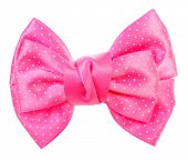 stock photo of bow tie hair  - Dotted bow tie pink with white spots - JPG