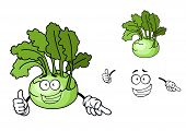 stock photo of kohlrabi  - Fun cartoon kohlrabi with a laughing face and fresh green leaves - JPG