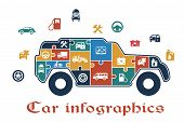 image of fuel pump  - Colorful puzzle car infographic with the shape of an SUV filled with icons depicting fuel - JPG
