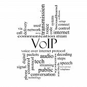 picture of voip  - VOIP Word Cloud Concept in black and white with great terms such as voice internet protocol and more - JPG