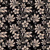 stock photo of tendril  - Vintage floral wallpaper seamless pattern with trailing tendrils of little flowers on vertical vines with leaves in beige on black in square format - JPG