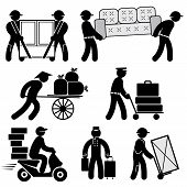 stock photo of rickshaw  - set black and white vector icons of loader people - JPG