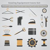 picture of macrame  - Set of dark gray black and yellow sewing icons - JPG