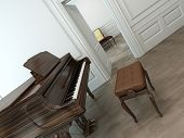stock photo of oblique  - Oblique view of a vintage interior with a classical brown grand piano - JPG