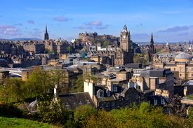 picture of british culture  - View over the historic center of Edinburgh Scotland - JPG