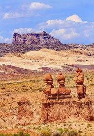 picture of goblin  - Three Sisters Hoodoos Goblin Valley State Park Rock Canyon Wild Horse Butte San Rafael Desert Utah USA Southwest - JPG