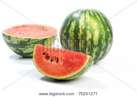 Melon Whole And Pieces, Isolated On White