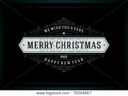 Christmas Retro Typography And Ornament Decoration. Merry Christmas Holidays Wish Greeting Card