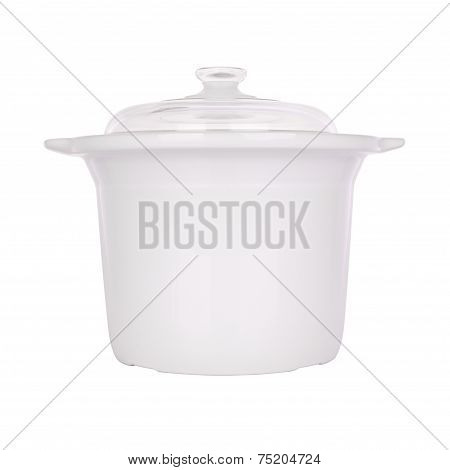 Ceramic steam pot with cover on white background.