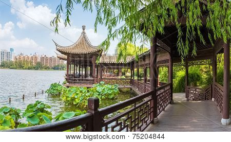 Chinese Traditional Corridors In The Lake