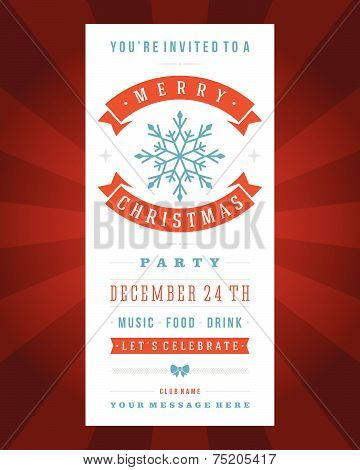 Christmas Party Invitation Retro Typography And Ornament Decoration. Christmas Holidays Flyer