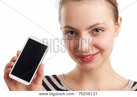 Young Blond Woman Showing Smart Phone