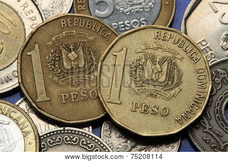 Coins of the Dominican Republic. Dominican national coat of arms depicted in the Dominican one peso coins.