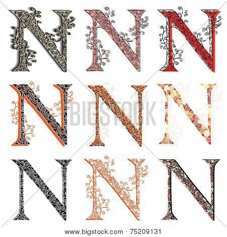 Various Combination Fishnet Letter N.