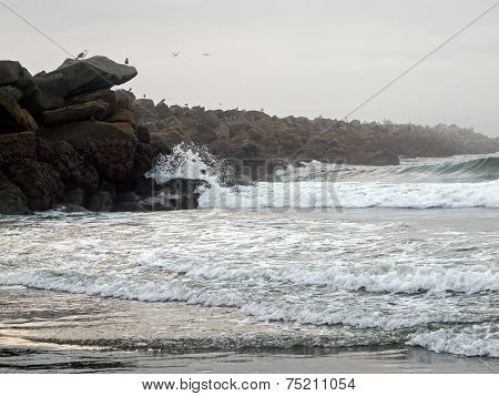 A Rock Jetty With Seabirds And Waves Flowing On A Beach