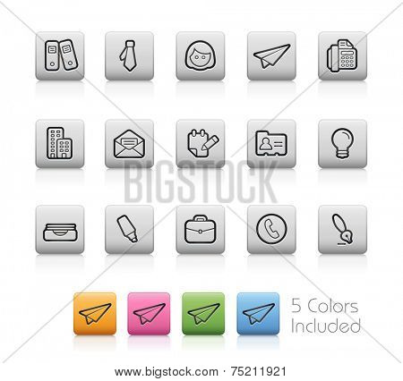 Office and Business Icons // Outline Buttons +++ Each color in a layer - To see the desired color, you need to make it visible in the layer panel +++ EPS 10+ / Contain Transparencies.