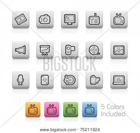 Multimedia Icons // Outline Buttons +++ Each color in a layer - To see the desired color, you need to make it visible in the layer panel +++ EPS 10+ / Contain Transparencies.