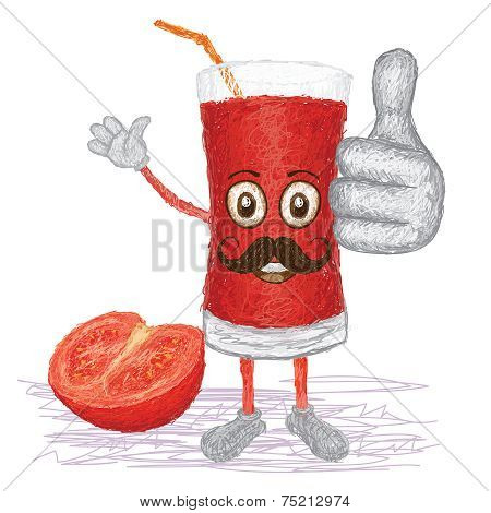 Tomato Fruit Juice Mustache