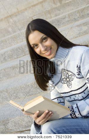 Beautiful female student smiling