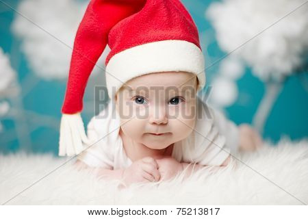 cute baby in Santa hat