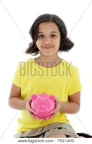 Chica con Piggybank