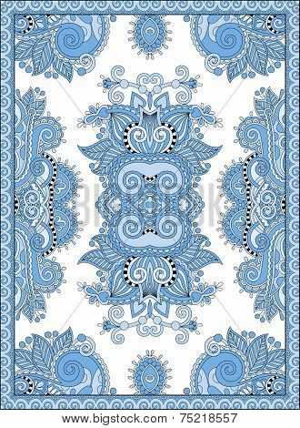 blue colour ukrainian floral carpet design for print on canvas