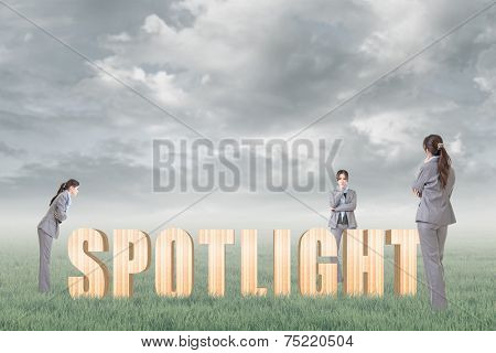 Concept of focus, point, center etc with 3d wooden text and businesswoman under copyspace sky. The Asian woman is the same one.