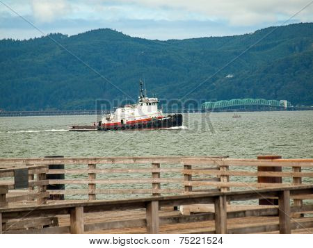 Tug Boat In The Columbia River Bay Area