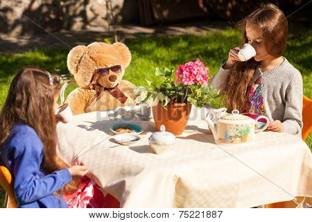 Little Sisters Having English Breakfast With Teddy Bear At Yard