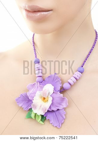 Romantic Style: Fashion Studio Shot Of Beautiful Woman With A Floral Necklace (jewelery Orchid Made