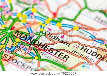 Close-up On Manchester City On Map, Travel Destination Concept