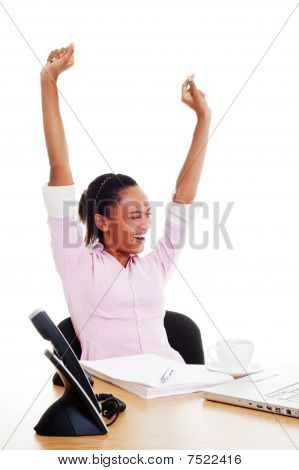 Happy Woman Finished Her Work