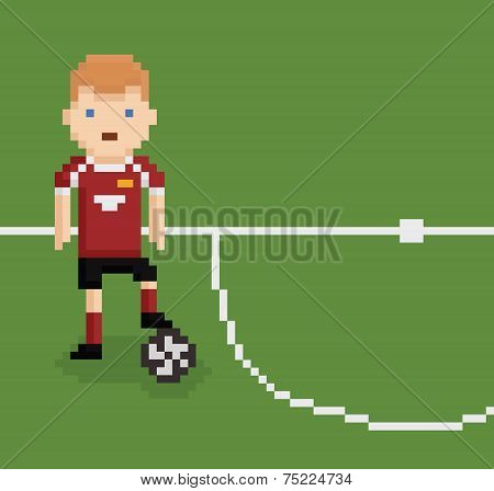 pixel art style illustration football soccer player on green field near white line holding the ball