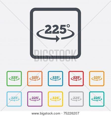 Angle 225 degrees sign icon. Geometry math symbol