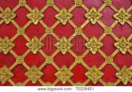 Abstract Golden Red Lai Thai Style